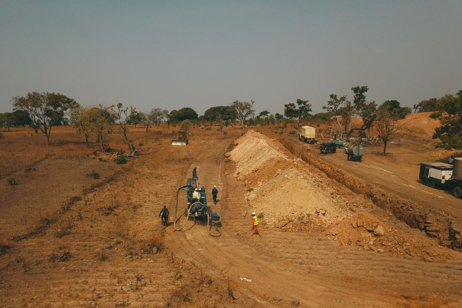 Aerial view showing several equipment in the drilling and trenching site at Niger State - provided by AG Vision