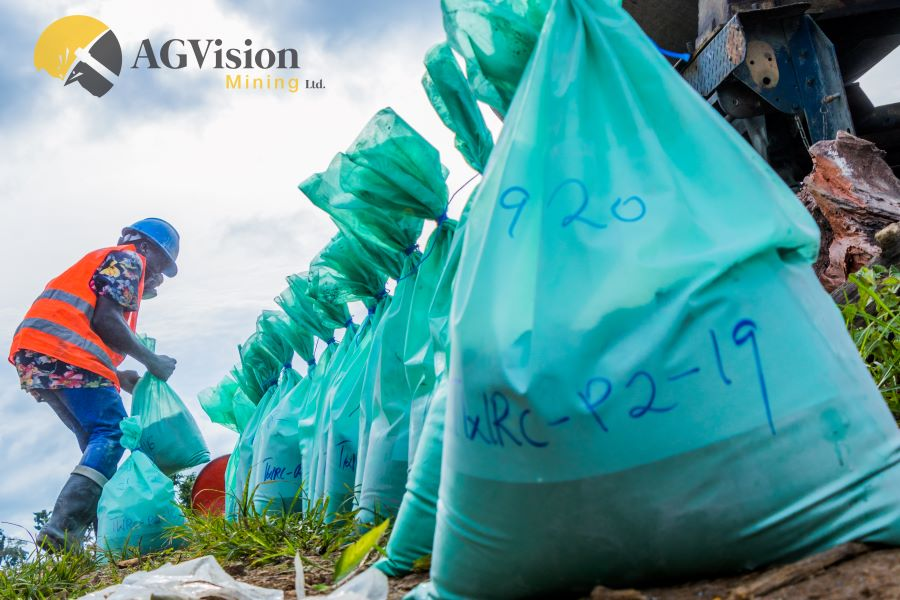 Tagging and arranging sample bags serially during an ongoing drilling campaign in Niger State - provided by AG Vision